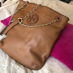 Tory Burch Crossbody Purse - light brown leather